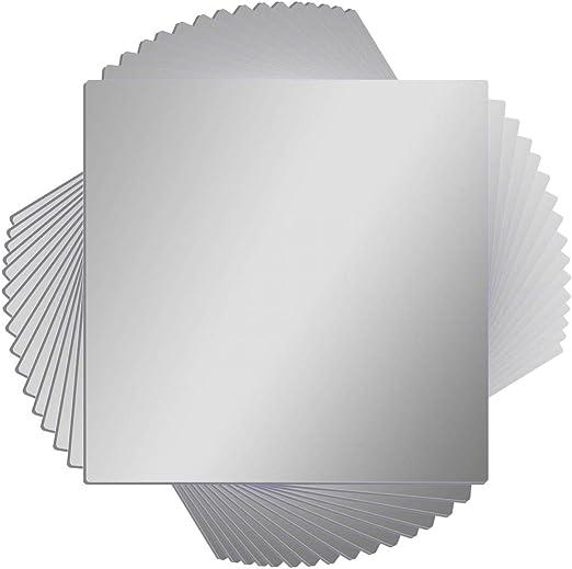 Amazon Com 16 Pcs Flexible Non Glass Acrylic Mirror Sheet Tiles Self Adhesive Plastic Wall Stickers Mirror For Bathroom Wall Diy Decor 6 X 6 Inch Each Home Kitchen