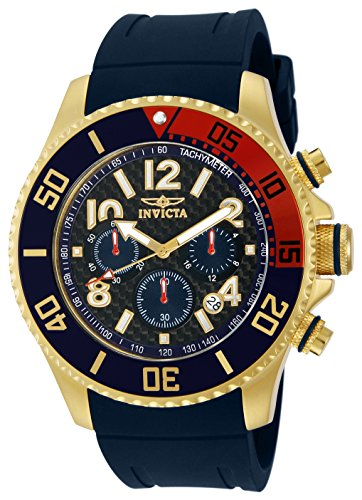 Invicta Men s 13730 Pro Diver Chronograph Black Carbon Fiber Dial Black Polyurethane Watch
