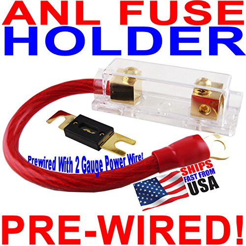 Gold ANL Fuse Holder + 1 Foot 2 Gauge Wire + 200A (200a Wire)