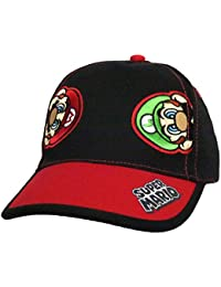 Super Mario and Luigi Black Cotton Baseball Cap – Size Boys' 4-14 [6014]