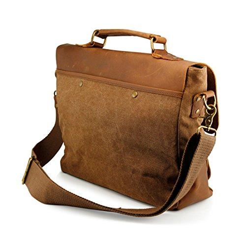 04348d640e3 GEARONIC TM Mens Vintage Canvas Leather Messenger Bag Satchel School Military  Shoulder Travel Bag for Notebook Laptop Macbook 11 and 13 inch Air Pro-  Brown