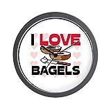 """CafePress I Love Bagels Unique Decorative 10"""" Wall Clock"""