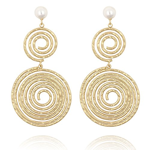 Statement Large Circle Hoop Earring White Pearl Studs in 14k Matte Gold
