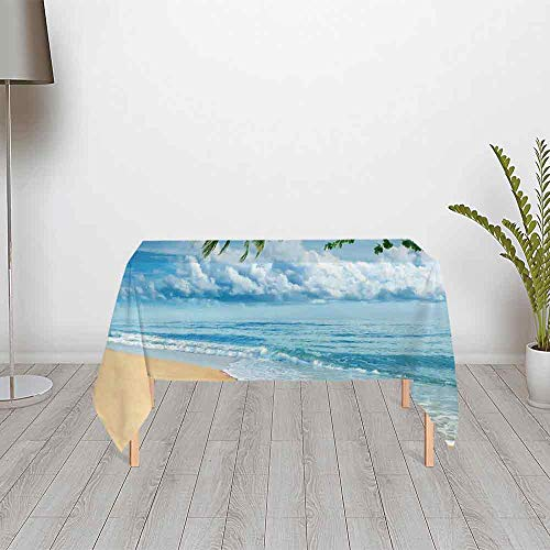 Tropical Decor Ultra Soft Satin Tablecloth,Sandy Tropical Beach in Summertime Sunny Day Seacoast Seascape Horizon Decorative for Home & Office & Restaurant Table Tea Table,40.16''W x 20.08''H