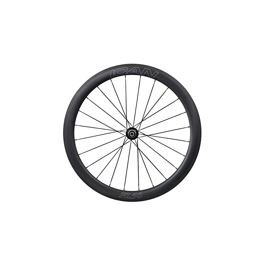 ICAN Carbon Road Bike Wheelset 25mm Wide 50mm Deep Clincher Tubeless Ready 1578g