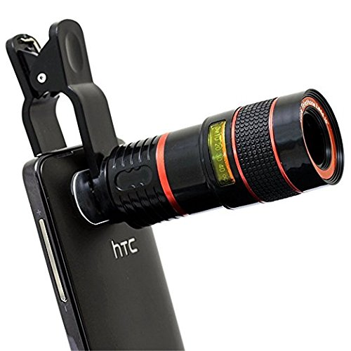 Syvo Universal 8x Zoom Mobile Phone Telescope Clip Lens for Cell Phone Optical Lens Magnifier (Black)