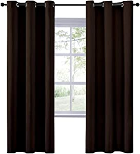 Rajlinen 100% Blackout Window Curtain Panels Truly Blackout Drapes Energy Smart Thermal Insulated Solid Grommet Blackout Curtains/Drapes for Living Room Size: W60 X L72, Color: Chocolate