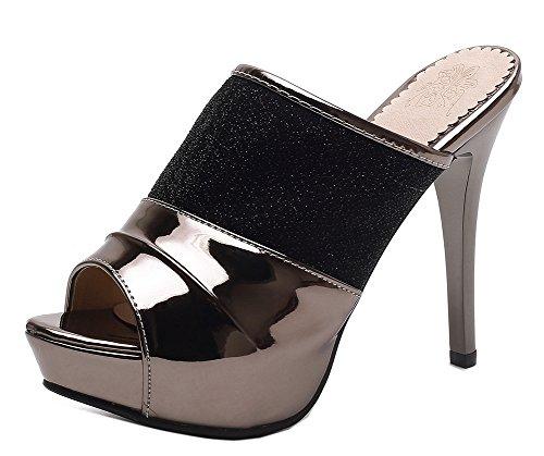 Mules Peep Easemax Noir Toe Plateforme Fashion Aiguille Femme Talon wfgfqO