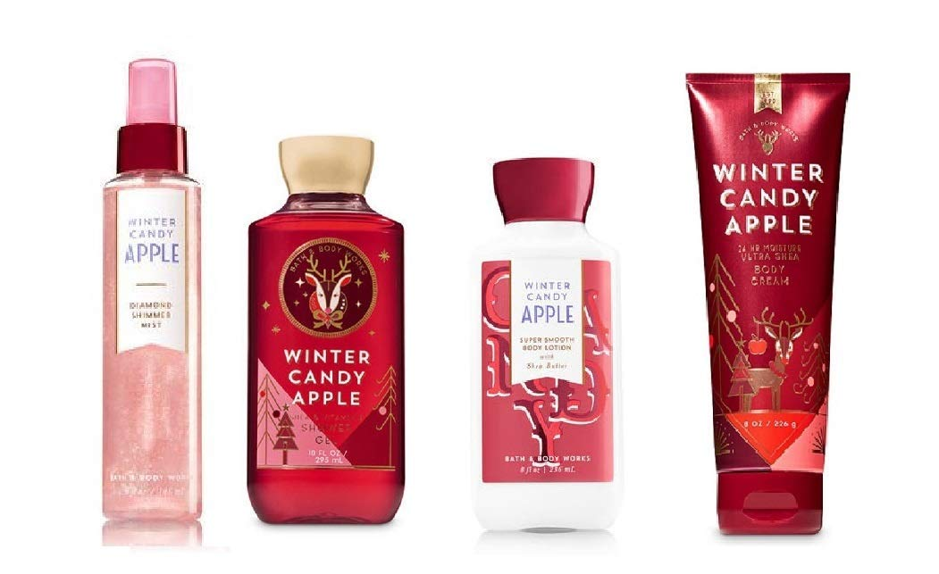 4 Piece Bath & Body Works Holiday Traditions Winter Candy Apple Deluxe Fragrance Gift Set- Fragrance Mist, Body Lotion, Shower Gel & Body Cream (Winter Candy Apple)
