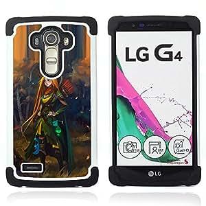 """LG G4 H815 H810 H811 LS991 LS986 US991 H815 U812 - 3 en 1 impreso colorido de Altas Prestaciones PC Funda chaqueta Negro cubierta gel silicona suave (Redhead Héroe mujer Aventura Niños"""")"""