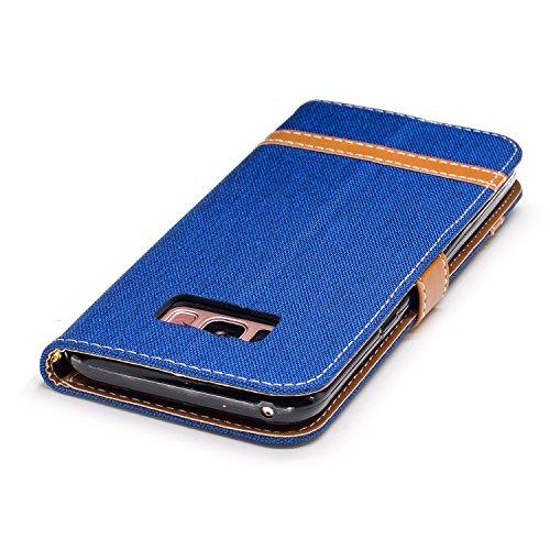 Para Samsung Galaxy S8 funda, (Vaquero rojo) Dril de algodón de colores mezclados caja del teléfono móvil de cuero PU Leather cubierta Función de Soporte Billetera con Tapa para Tarjetas correa de man Vaquero azul