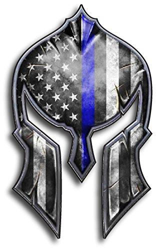Thin Blue Line Molon Labe Spartan Helmet Gladiator Decal Come and Take it Police Fallen Officer Yeti Truck Car Van Window Vinyl Sticker