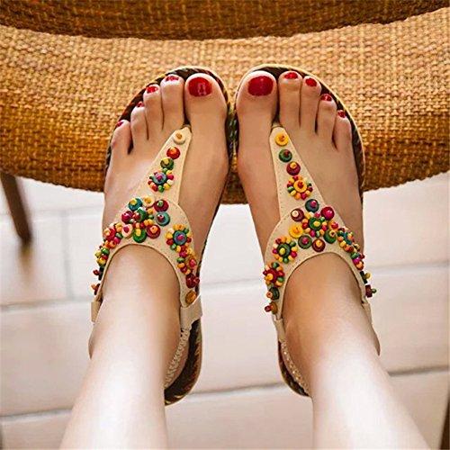 sandalias sandalias Gladiador zapatillas las de de las del los Scothen las Correa playa romana flip de flop del de Zapatos correa punta Trenzado tobillo planos mujeres de mujeres correa Beige clip T xBOqwI