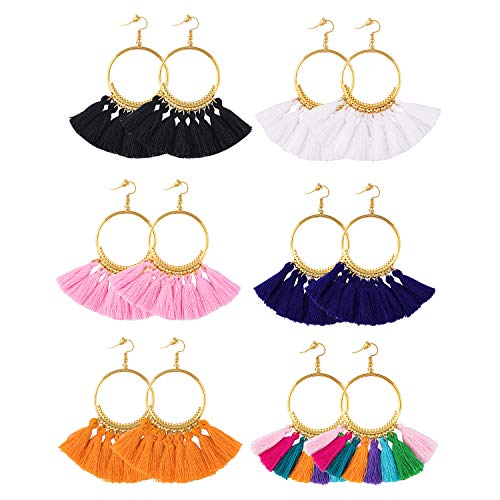 Fan Shape Earrings - 6 Pairs Tassel Hoop Earrings Bohemia Fan Shape Drop Earrings Fish Hook Earrings Dangle Ear Drop for Women Girls Daily Wear,Party etc
