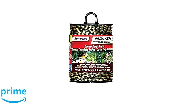 Amazon.com : SecureLine Camo Poly Rope 25ft x 5/32 in 60lb Working Load Lehigh Consumer Products, LLC : Sports & Outdoors