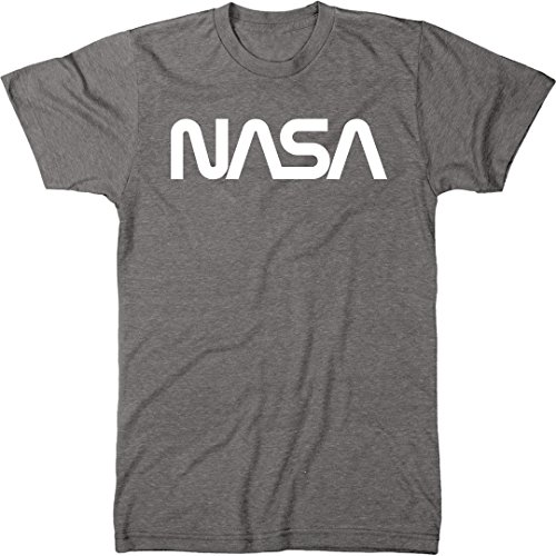 NASA Vintage White Worm Logo Men's Modern Fit Tri-Blend T-Shirt (Premium Heather, Large)
