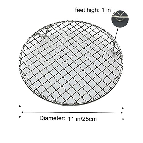 Fivebop Multi-Purpose Stainless Steel Cross Wire Round Steaming Cooling Barbecue Racks/Carbon Baking Net/Grills/Pan Grate with 3 Legs (11 inches) by Fivebop (Image #2)