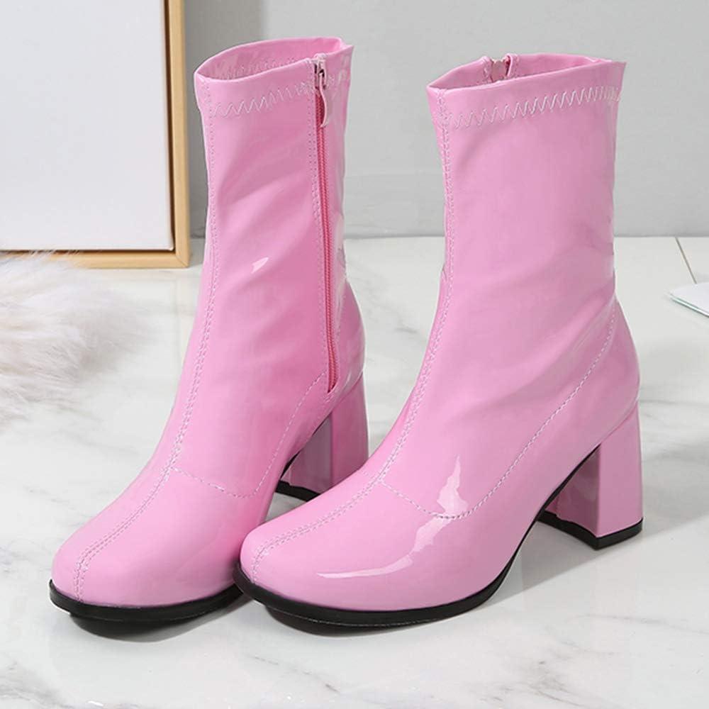 LIURUIJIA Womens Go Go Boots Mid Calf Block Heel Zipper Boot XZ-DX-1027