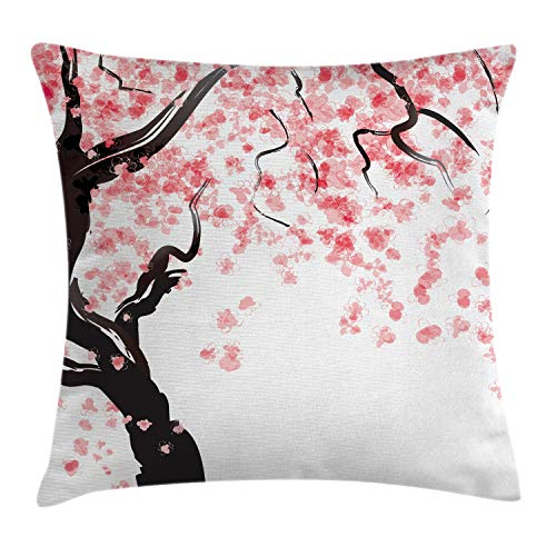 """Ambesonne Floral Throw Pillow Cushion Cover, Dogwood Tree Blossom in Watercolor Painting Effect Spring Season Theme Pinkish Tones, Decorative Square Accent Pillow Case, 18"""" X 18"""", Black Pink"""