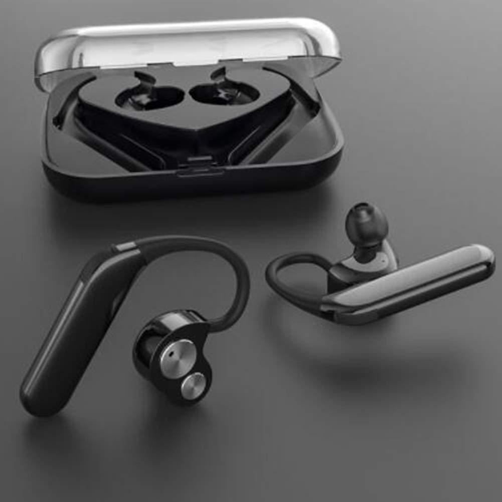 RONSHIN Automotive Cross-Border New X6 Wireless Bluetooth Headset TWS Bilateral Stereo Hanging Type 5.0 Sports Waterproof Headphones Deep Black by RONSHIN