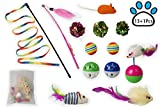 Petopian Cat Toy Sets-Feather Teaser Wand, Crinkle Balls, Tumbler and Various of Toy Mouse, Set of 14 Packs for Cat, Puppy, Kitty, Kitten