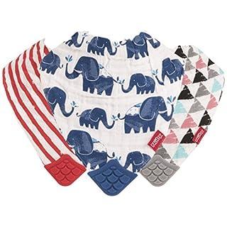 Nuby Reversible 100% Natural Cotton Muslin 3 Piece Teething Bib, Grey/Red/Blue, Arrows/Red Stripes/Elephants