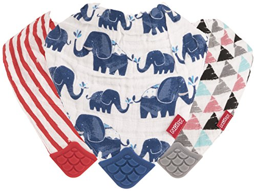 (Nuby Reversible 100% Natural Cotton Muslin 3 Piece Teething Bib, Grey/Red/Blue, Arrows/Red Stripes/Elephants)