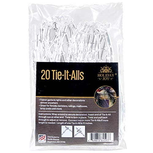 Sorillo Brands 20 Clear Tie-It-All Decoration Hangers - Secures Garlands, Lights, Decorations on Railings, Fences, Lamp Posts (Garland Ties)