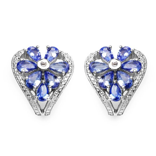 2.60 Carat Tanzanite and White Topaz Earrings in .925 Sterling Silver