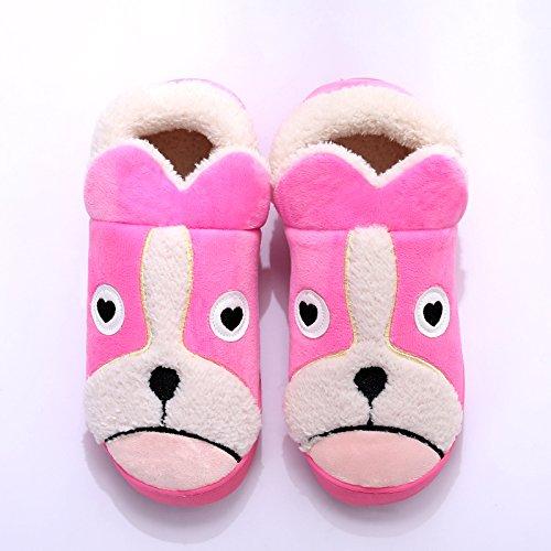 Y-Hui zapatillas de algodón Bolsa con hombres de invierno Home Furnishing zapatos de suela gruesa Interior par Dog Pink