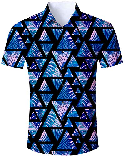 Mens Hawaiian Shirts Floral Tropical Blue Casual Aloha Short Sleeve Button Down 2019 Summer Palm Holiday Shirt]()