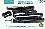GOMA Industries DOG LEASH - The Perfect Dog Walking Lead - Double Handle - Heavy Duty and Reflective - 100% Nylon - For Medium and Large sized breeds - FREE Waste bag Dispenser & 1 Roll