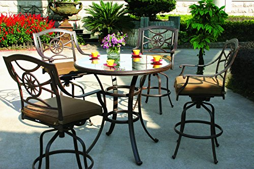 Darlee Ten Star Cast Aluminum 5-Piece Bar Set with Seat Cushions and 42-Inch Glass Top Bar Table, Antique Bronze Finish (Ten Darlee Star Cast)