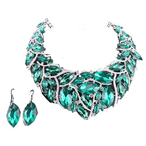 (African Beads Jewelry Sets Women Bridal Crystal Statement Necklace Earring Jewelry Sets (Silver Green))