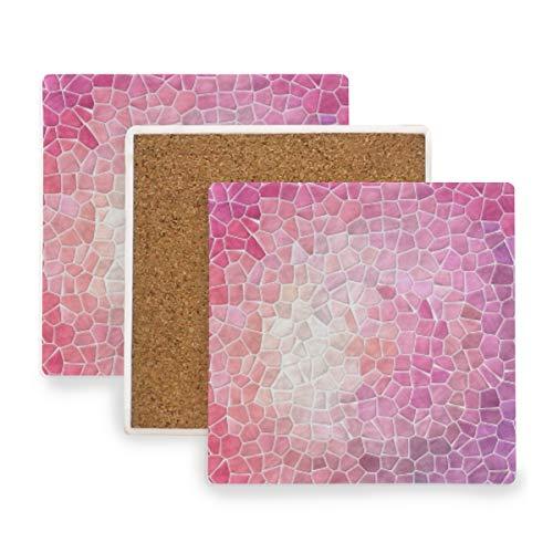 Evidence Pastels Pads - Pastel Pink Purple Mosaic Ceramic Coasters for Drinks,Square 4 Piece Coaster Set