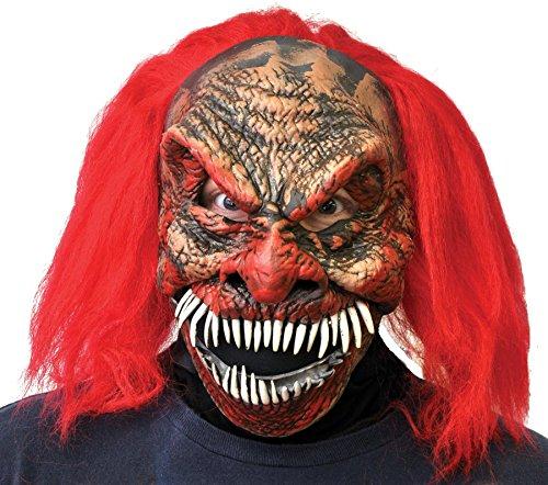 Zagone Dark Humor Evil Clown Halloween Mask with Long Sharp Teeth and Red Hair