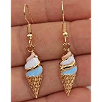 phitak shop 1.7 Ice Cream Food Oil Painted Alloy Lovely Evening Prom Lady Hook Earrings