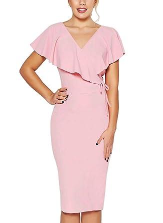 51236b73ce4 Fantaist Women s Summer Elegant Ruffle Wrap Wedding Guest Slim Bodycon  Pencil Midi Dress (S