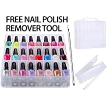Maigon Universal Portable Nail Polish Organizer Holder for 48 bottles with Large Separate Compartment for Tools, Space Saver Free Nail Polish Remover Tool