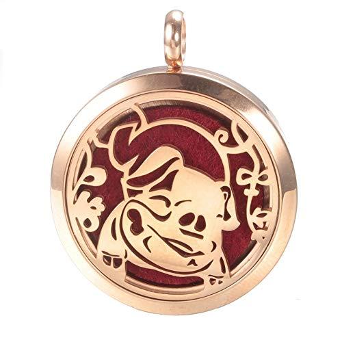 Precious Pig Aromatherapy Necklace, Piggy Locket Pendant, Chenier Design Rose Gold Gift Jewelry