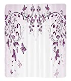 Chaoran 1 Fleece Blanket on Amazon Super Silky Soft All Season Super Plush ymmetric Victorian Period Inspiredpring Flower withwirls Ceremony Woman Artsy Print Fabric et Violet