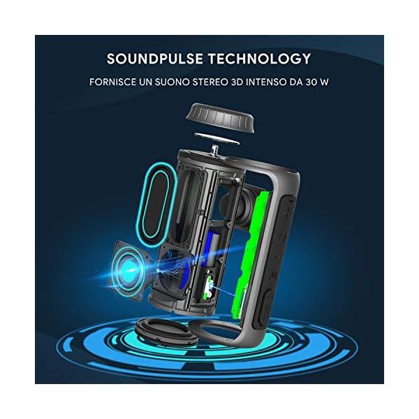 Zamkol Cassa Bluetooth 5.0, 30W HD Stereo Altoparlante Portatile con Bassi Potenti, IPX6 Waterproof Speaker bluetooth… 6 spesavip