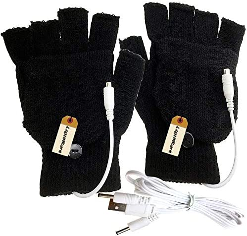 Lsgoodcare Black USB Full & Half Finger Heating Knitting Wool Hands Warm Gloves Winter USB Powered Heated Glove for Women Girls Men Boys USB Glove Hand Warmers Great for Christmas / Lsgoodcare Black USB Full & Half Finger Heating K...