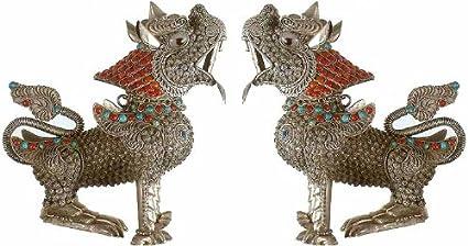 Exotic India Par de Templo Leones–Plata de Ley con Piedras Preciosas