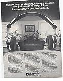 1979 Vintage Magazine Advertisement Panasonic Duo-Cone Headphones