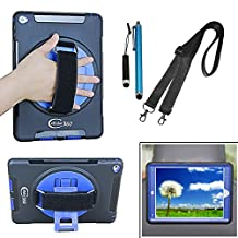 Cellular360 Shockproof Case for Apple iPad Air 2 , Car Headrest Mount Case with 360 Degree Swivel Stand, Handle and Shoulder Strap (Black/Blue)