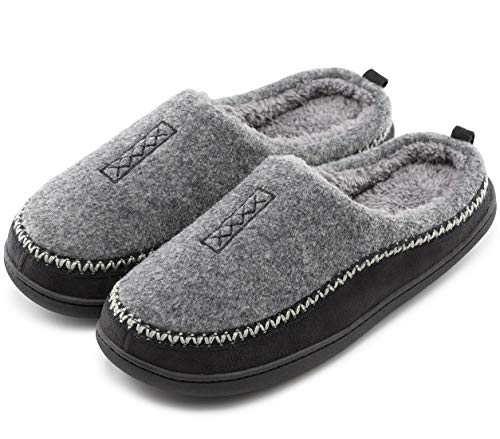 Men's Cozy Fuzzy Wool Fleece Memory Foam Slippers Slip On Clog House Shoes Indoor / Outdoor