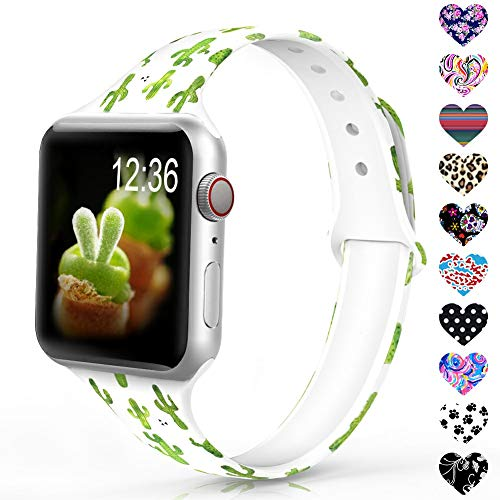 Sunnywoo Sport Band Compatible with Apple Watch 38mm 40mm 42mm 44mm, Narrow Soft Fadeless Floral Silicone Slim Thin Replacement Wristband for iWatch Series 4/3/2/1 Women Men (Cactus Band)