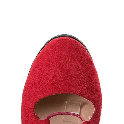 À Pompes Chaussures Chaton Rouge Givrés Rond À 39 Solide Talons Lacets Bout Femmes Odomolor PxnXHvTwq