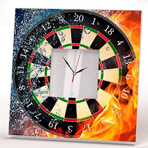 Dartboard on Fire Ice Casino Wall Clock Framed Mirror Decor Darts Fan Art Printed Home Design Gift